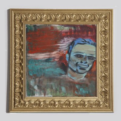 Gabi zeichnet Lukas: Das expressionistische Werk von Gabi angelehnt an die Werke Ernst-Ludwig Kirchners. Die blaue Farbgebung der Gesichtskontur steht in hartem Kontrast zum Hintergrund. Die äußerst politische Thematik der Flucht wird hier im Kontext gewandelt. Flucht vom stressgetriebenem Alltag in der Darstellung von Freude und Glück.