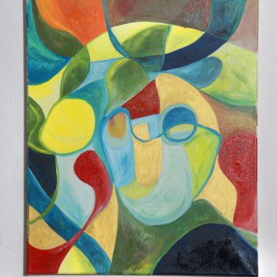 """Lukas porträtiert Max: Als würde es aus der Feder Paul Klees entspringen zeigt das farbenfrohe Portrait von Lukas den Fluss und die Wandlung eines Menschen. Die Verbindung des Ichs mit seinem Umfeld, und die daraus resultierenden positiven """"Vibes"""" – umgesetzt als Werk der klassischen Moderne."""