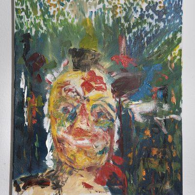 """Lukas bepinselt Max 2: Das neoexpressionistische Werk von Lukas erinnert stark an Richard Gerstl. Im Fokus des Werkes steht die Verletzbarkeit des Menschen und die daraus hervorgehende Kraft. Aus der Erde sind wir genommen, zur Erde sollen wir wieder werden"""" – das dazwischen ist Handlung."""