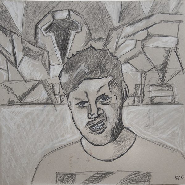"""SIEGERBILD: Max malt Jakob: Die Kreidezeichnung mit Weißhöhen von Max stellt die""""Neo-no-Future-Generation"""" dar. Die als Absage an den Hedonismus definierte Zeichnung entspringt der neokubistischen """"Scheiß-ma-nix- Epoche"""" oder wie umgangssprachlich auch gesagt wird: """"let it roll"""""""