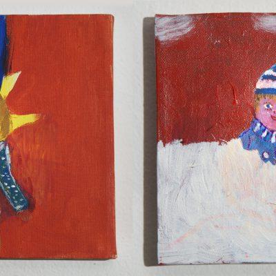 Oma und Opa zeichne ihre Urenkel Samuel und Theo: Die naive Kunst nach serbokroatischem Vorbild vermischt die Konzeption einer realistischen Darstellung mit den Harmonien der bunten Farbgebung. Das strahlende Gemüt eines Kindes im Freien. Die Definition von purem Glück.